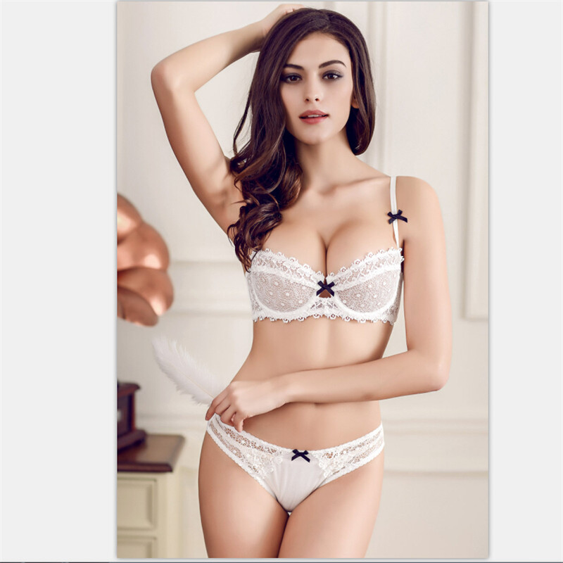 Fashion sexy lace comfortable bra ultra thin transparent plus size ...