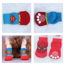 Super/Spider Man Pet Socks Indoor Red Pet Dog Soft Cotton Anti-slip Knit Weave Winter Warm Skid Bottom Socks Free &Drop Shipping