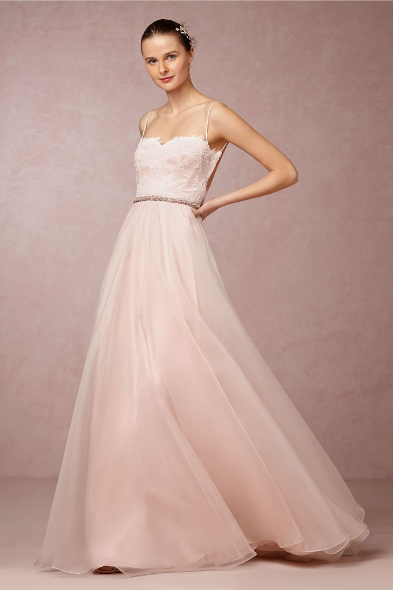 Blush pink wedding dresses real tulle a line bride gowns for Tulle a line wedding dress