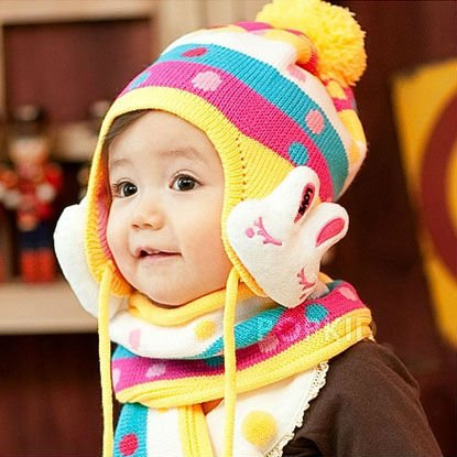 (mixed order) Retail Infant Cute Rabbit Protective Ear Cap / Baby Cotton Hat Without Scarf 5 Color knitting hat+free shipping(China (Mainland))