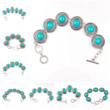 15 Styles Free Shipping Hot Jewelry Tibetan Silver Bracelet Turquoise Inlay Roundness Bead Adjust Bangle(China (Mainland))