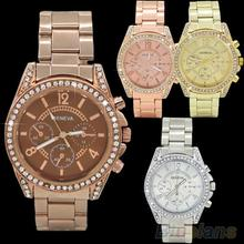 Mujeres de moda de ginebra Bling cristal acero inoxidable de cuarzo analógico reloj de pulsera 2DLT
