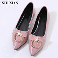 New Spring Autumn Pink Pointed Toe Slip On Flat Shoes Korean Low Heel Ballet Flat Women