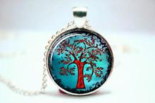 life tree chain necklace women necklace glass cabochon necklace pendant necklace art photo silver jewelry fashion