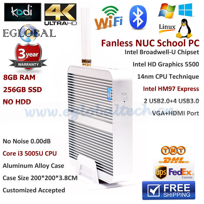 Fanless i3 8GB RAM 256GB SSD Mini PC Windows PC Broadwell Intel Core i3 5005U 2.0GHz 4K HTPC Graphics 5500 Aluminum Alloy Case(China (Mainland))