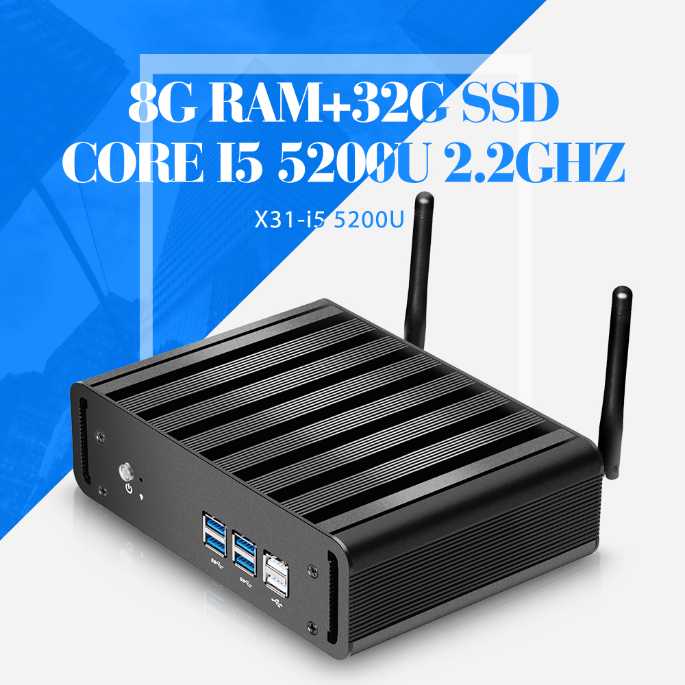 mini pc 5th generation Core Processors i5 5200U Nuc Fanless Computer Win7 / Linux Desktop Thin client 8G RAM 32G SSD with wifi(China (Mainland))