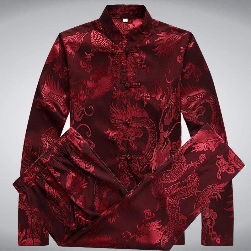 New Chinese Silk Shirts Pant Suits Men Mandarin Collar Dragon Print Tang Suit Long Sleeve Large Size Kung Fu Clothing Casual set(China (Mainland))