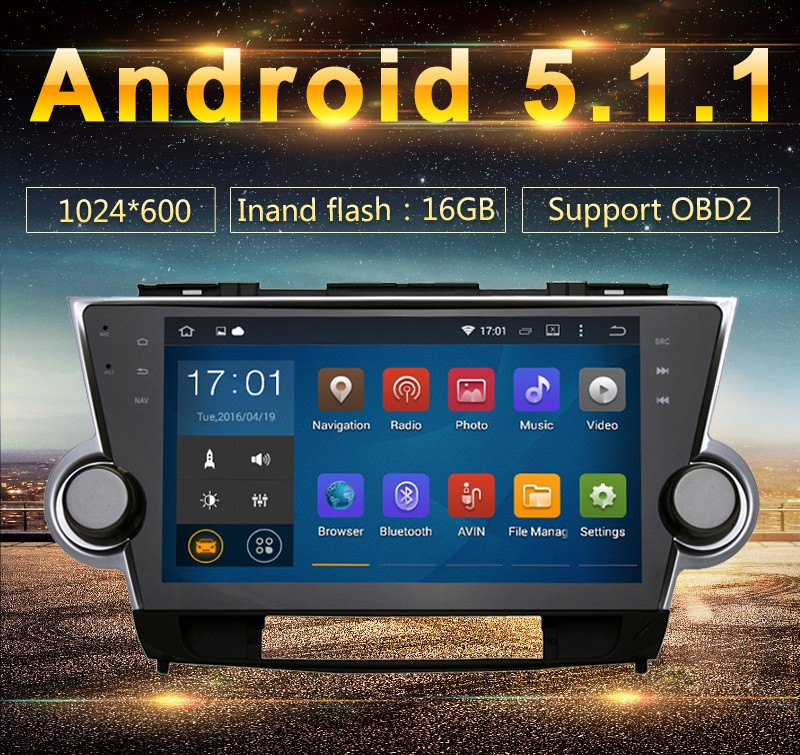 "10.2"" Quad core Android 5.1.1 Car GPS navi for Toyota Highlander 2009-2012 16GB iNAND Capacitive Screen wifi 3G Mirror Link"