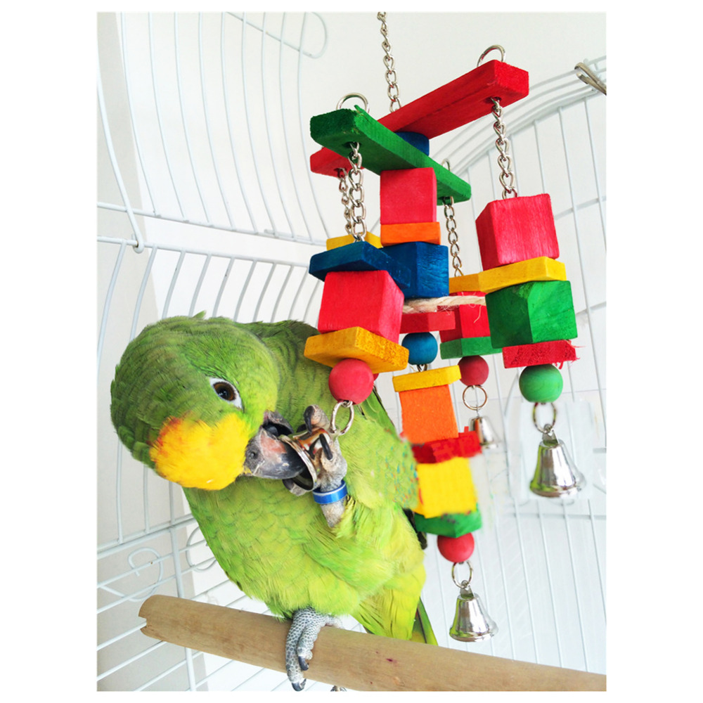 Wood Bird Toys : Hot sale moveable parrot bird toys swing wood chew rope
