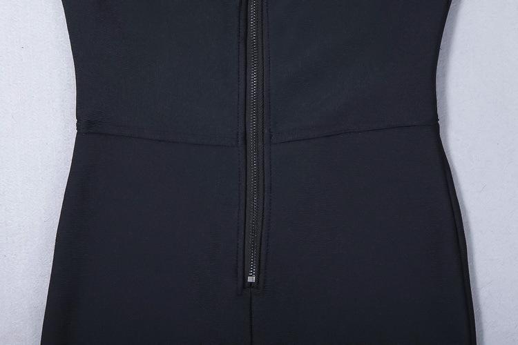 Autumn Winter New Black Slim Bodysuit Bandage Jumpsuits For Women Deep V Neck Personality Zipper Sexy Sleeveless Long Jumpsuits