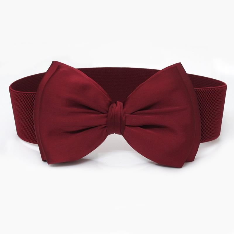 Women's big bow belt elastic wide all-match cummerbund one-piece dress black decoration - amy shao's accessories store