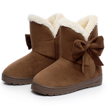 Botas de Nieve de las mujeres 2016 Caliente Sólido, Además de Terciopelo Plana de Las Mujeres botas de Invierno Salvajes Bowtie Casual Zapatos de Punta Redonda Zapatos de Las Señoras SNF905(China (Mainland))