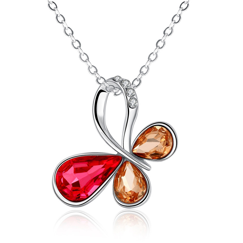 Hot Sale Trendy Silver Plated Fashion Jewelry AAA CZ Diamond Multi Colored Lovely Butterfly Pendant Necklace For Women QA0006(China (Mainland))