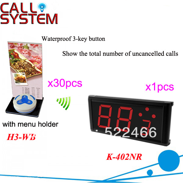 Wireless Call Button System K-402NR+H3-WB+H with 3-key button and led display for restaurant equipment DHL free shipping(China (Mainland))