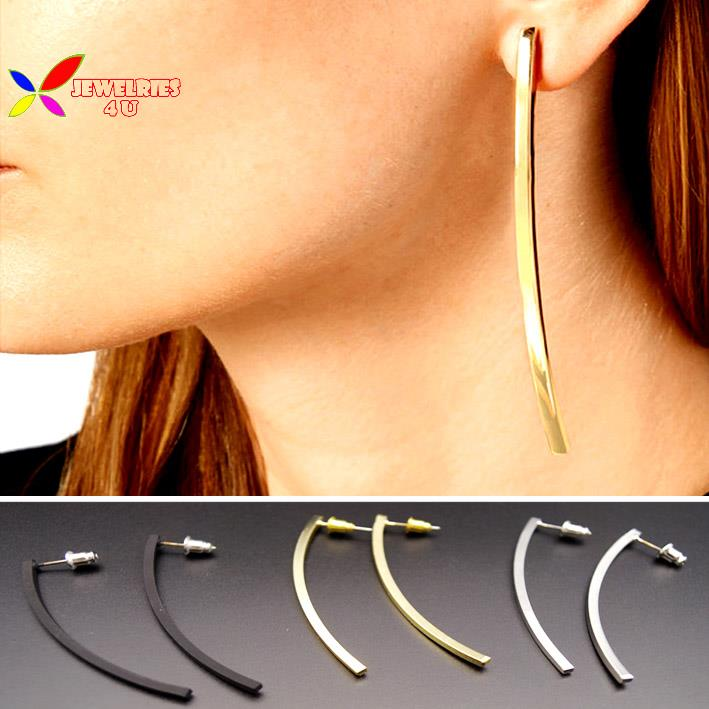 2015 hot simple earrings fashion rock punk gold silver black cooper stick drop earring jewelry for women pendientes de borla(China (Mainland))