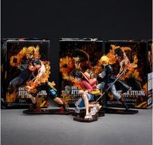 Anime One Piece 9-11cm 3pcs/set Luffy & Ace & Sabo 3 brother PVC Action Figure Toys Dolls