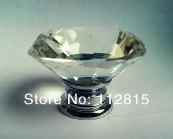 Furniture handle Designer Series K9 Crystal diamond Chrome Cabinet Cupboard Door Knob (Diameter:40mm)