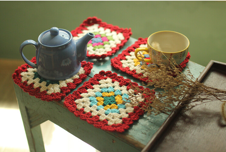 Vintage Handmade Crochet Cotton Teapot Coffee Mats,Cup Mug Pads Coaster,Table Cloth,Kitchen Dining Home Decor Accessory, 4 pcs(China (Mainland))