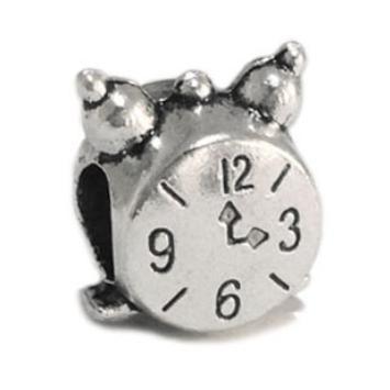Free Shipping 1pc Alloy Bead Charm European Vintage Small alarm clock beads Fit Women pandora Bracelets & Bangle DIY Jewelry B55(China (Mainland))