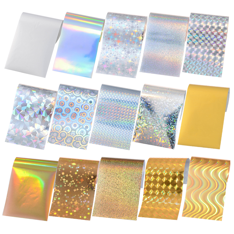15 Pieces Pack Nail Foils Hologram Starry Sky Laser Glitter Holo Tips Shimmer Manicure Nail Art Transfer Sticker 4*13cm(China (Mainland))
