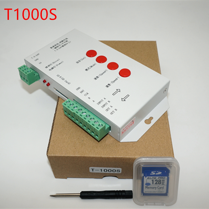T1000S SD Card WS2801 WS2811 WS2812B LPD6803 LED 2048 Pixels Controller DC5~24V T-1000S RGB Controller(China (Mainland))