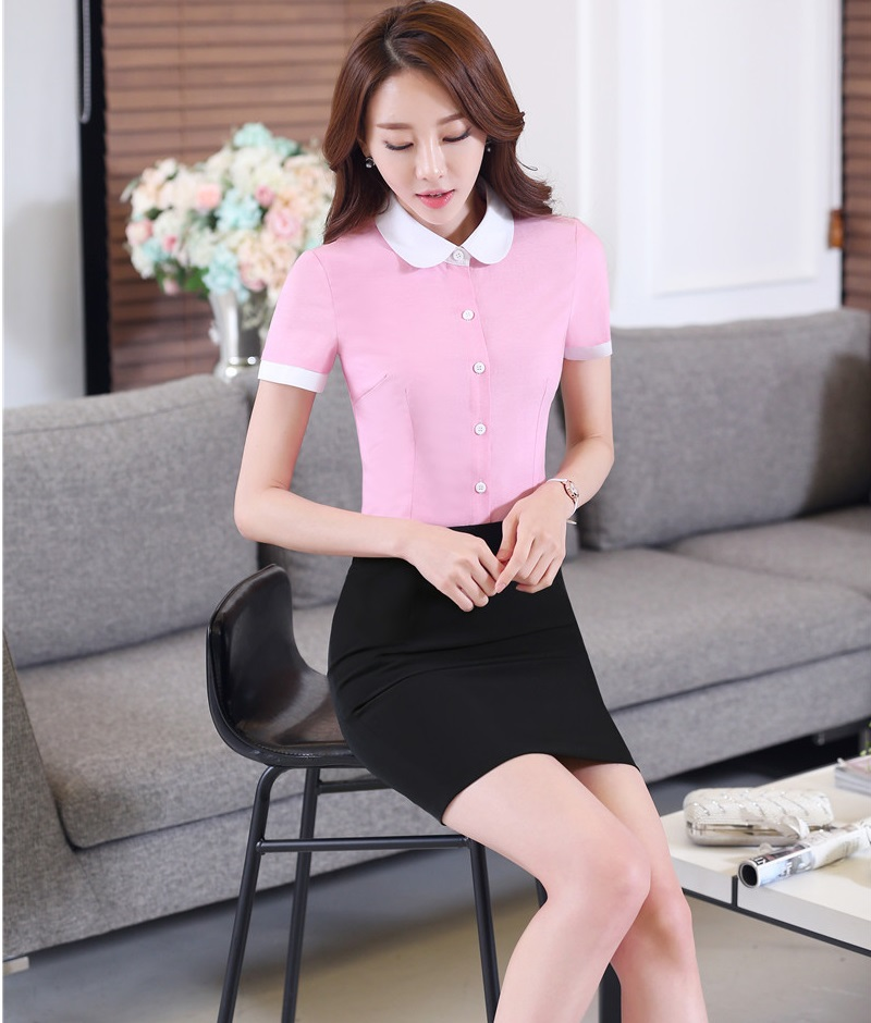 Formal Business Suits Tops And Skirt 2016 Summer Short Sleeve Uniform Styles OL Office Ladies Shirts