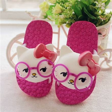2016 Children Slippers 3DThree-Dimensional Cat Baby Summer Home Slippers Fashion Hollow Out Breathable Soft Slip-Resistant Shoes