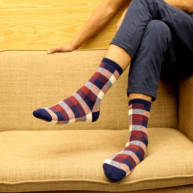Skarpetki bawełniane męskie wzór w kratkę