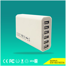 6 Multi Ports USB Charger Travel Desktop Charging Station 5V 10A Adapter for Moible Phone Tablet All USB Devices White