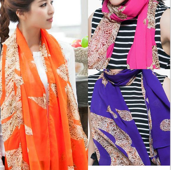 ( Минимальный заказ $ 10 ) 2016 осенью новый женщин корейской абстрактный шарф леопарда шифон обертывания оптовая продажа