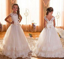 New Cap Sleeve Backless Ivory Lace Flower Girl Dresses For Weddings 2016 Bow Floor Length First Communion Dresses For Girls