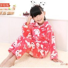 2015 Autumn pijamas kids Homewear Soft and Warm Childrens Flannel Clothes Sets Girls Long Sleeve Homewear Girls robe