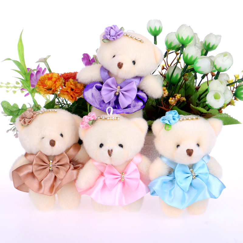 NEW 12CM 10pcs/lot pp cotton kid toys plush doll mini small teddy bear flower bouquets bear for wedding(China (Mainland))