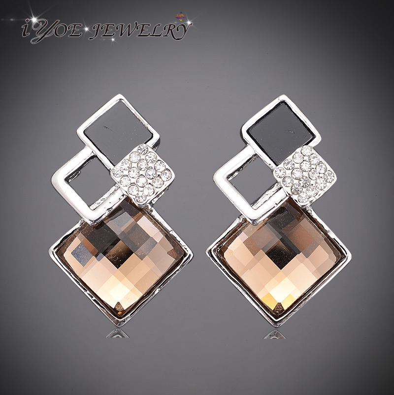 Silver plated square shape christmas earring fashion Square narrow shape acrylic