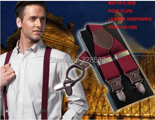 2015 fashion classic man leather brace suspenders 3.5 cm width Adjustable Four Clip-on suspenders braces Men's Gift(China (Mainland))