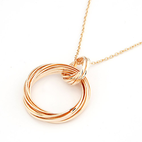 Fashion brief 2015 multi-circle long necklace female gualian design accessories  two-color woman necklace(China (Mainland))