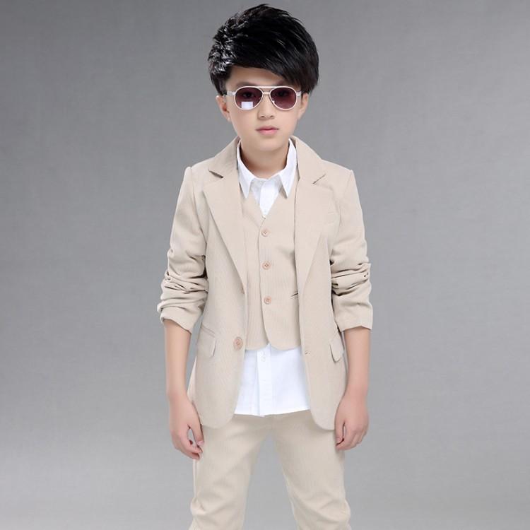 Скидки на С длинными рукавами мальчиков блейзеры дети ребенок сплошной цвет пиджак топ тонкий жилет брюки мальчиков костюм устанавливает блейзеры