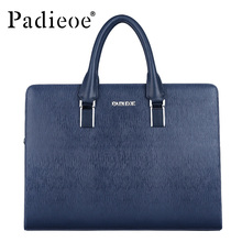 Black and blue genuine leather shoulder handbags new fashion messenger bags business men's briefcases bags with combination lock(China (Mainland))