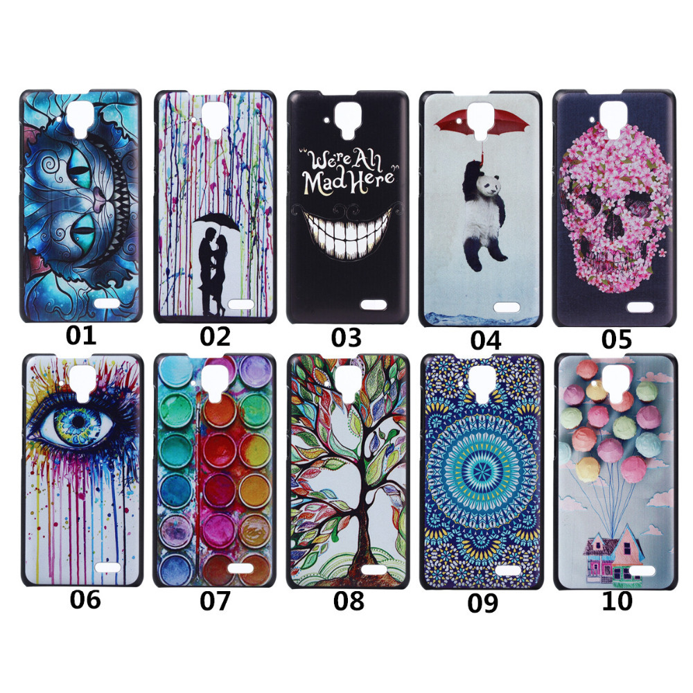 Smile Cat Panda Skull Tree Balloon Pattern Colored Drawing Painting PC Hard Back Cover case for Lenovo a536 A358T Back Case(China (Mainland))