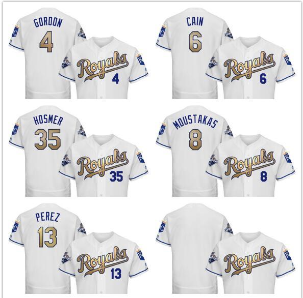 Kansas City Royals Mens Jersey 35 Eric Hosmer 13 Salvador Perez 8 Mike Moustakas 6 Lorenzo Cain 4 Alex Gordon baseball jersey(China (Mainland))
