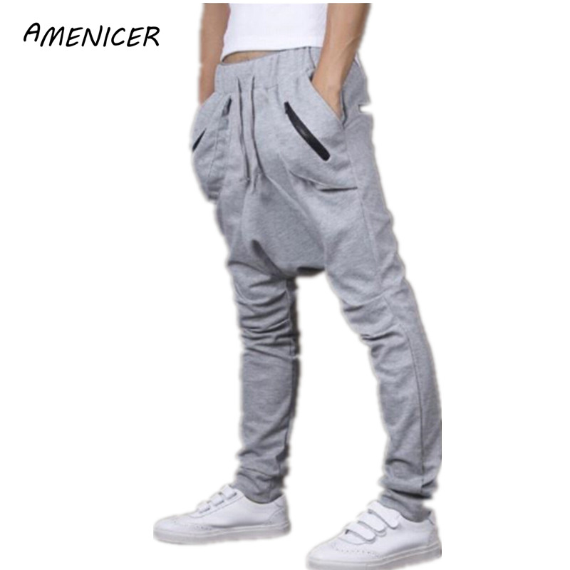 Hommes Casual pantalons de Survêtement Lâche Entrejambe Sport Piste Conique Joggers Sport Pantalon Gym Vêtements Pantalones Parkour Hombre(China (Mainland))