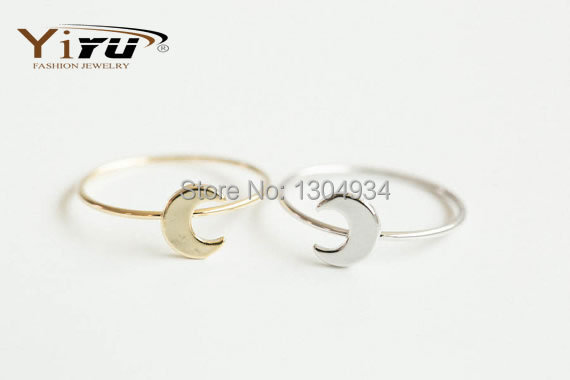 Free shipping 30pcs/lot Gold/Silver/Rose Simple flat crescent moon knuckle ring,knuckle ring,pinky ring R133<br><br>Aliexpress