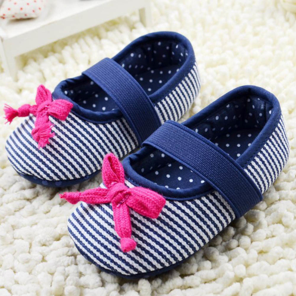 Baby Cute Red Bowknot Blue White Stripe Pattern Anti Slip Soft Soled First Walkers - STARKING store