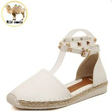 2015 euro 35~43 women ankle strap sandals rivets decoration breathable insole pu leather women low flat shoes XWC066(China (Mainland))