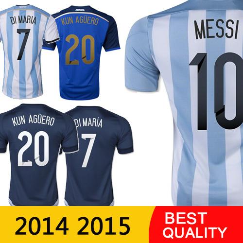 Free Shipping MESSI KUN AGUERO Argentina jersey 2015 DI MARIA Argentina soccer shirts 15 16 TEVEZ camisetas de futbol football(China (Mainland))