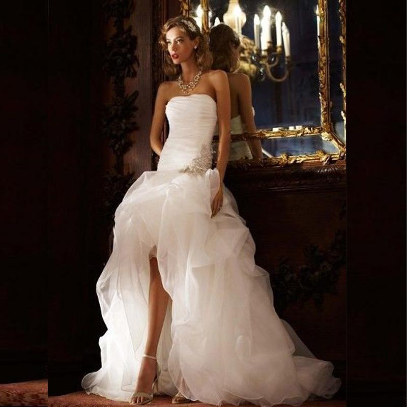 White Organza Long Back Front Short Wedding Dresses 2015 Hi Low Romantic Wedding Gowns vestidos de noivas robe de marriage(China (Mainland))