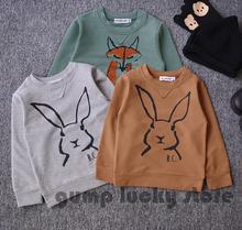 2015 New Autumn Winter Kids Bobo Choses Rabbit Pattern Full Sleeve Sweatshirts Fox T-shirt  Baby Boys Girls Fall tops Toddlers(China (Mainland))