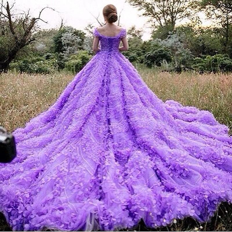 Purple gold wedding dresses : Trian bridal dresses luxury flowers atapless wedding dress purple