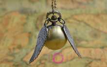 hot fashion retro antique black wing golden gold snitch ball quartz pocket watch fob necklace women