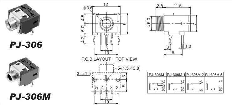 10PCS  3.5mm Female Audio Connector 5 Pin DIP Headphone Jack Socket PJ-306M